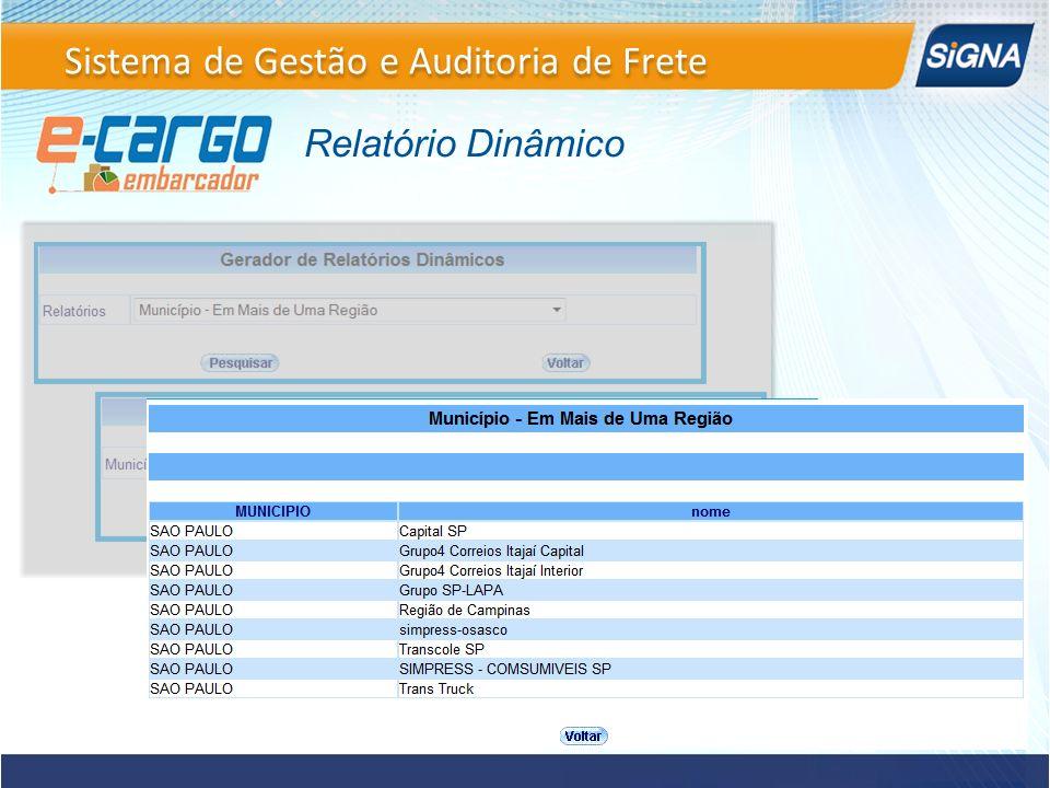 Relatório Dinâmico Sistema de Gestão e Auditoria de Frete