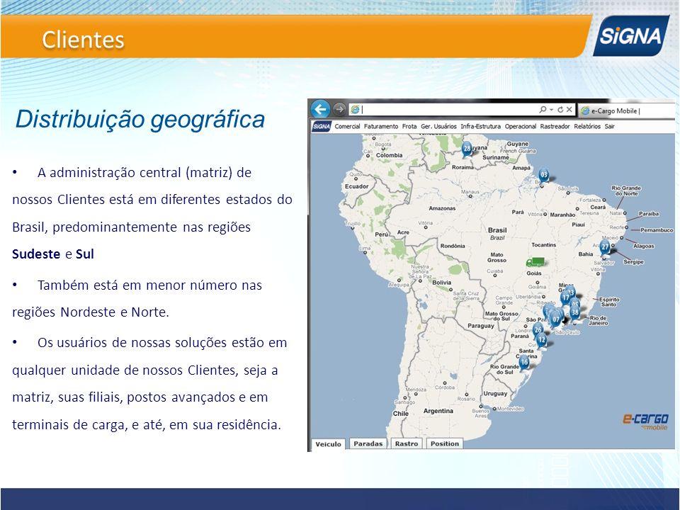 Distribuição geográfica A administração central (matriz) de nossos Clientes está em diferentes estados do Brasil, predominantemente nas regiões Sudest