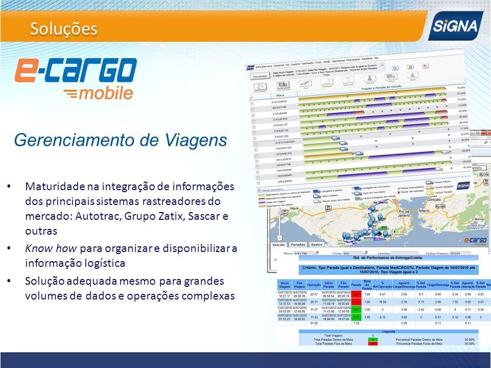 Maturidade na integração de informações dos principais sistemas rastreadores do mercado: Autotrac, Grupo Zatix, Sascar e outras Know how para organiza