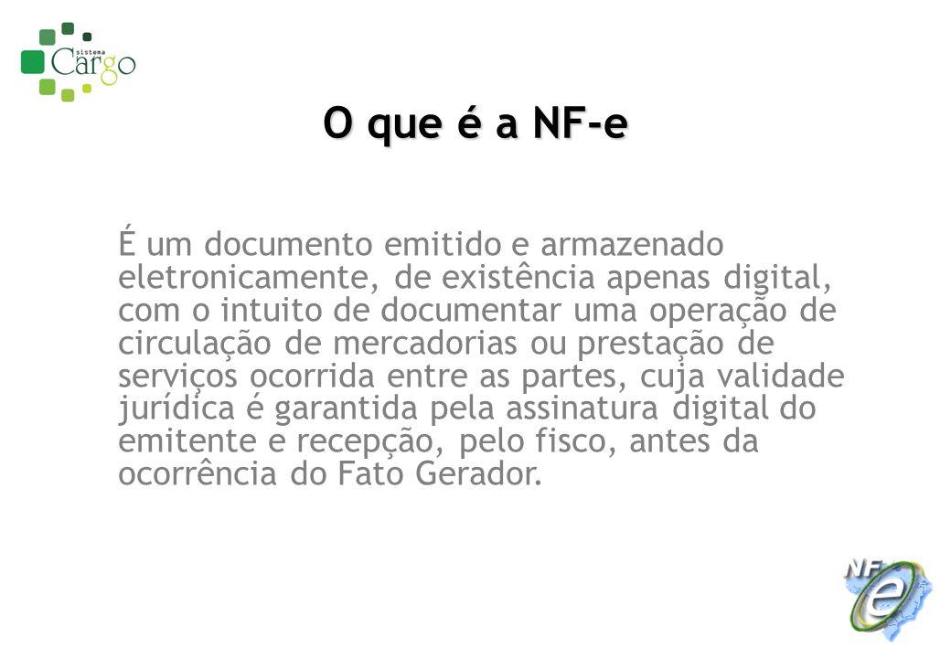O que é a NF-e É um documento emitido e armazenado eletronicamente, de existência apenas digital, com o intuito de documentar uma operação de circulaç