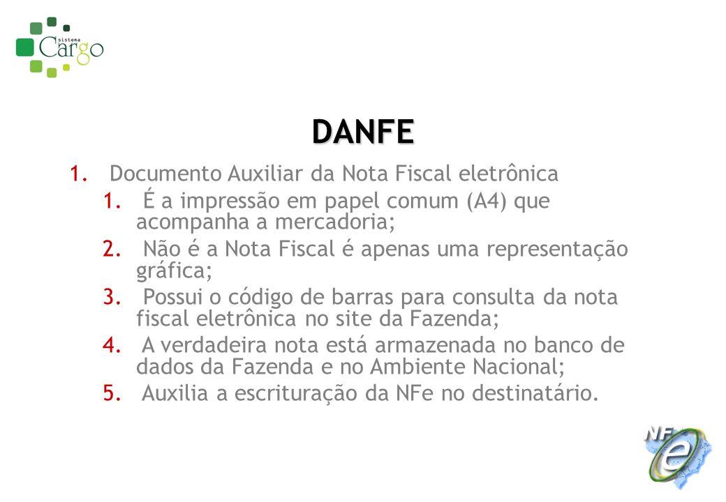 DANFE 1. Documento Auxiliar da Nota Fiscal eletrônica 1. É a impressão em papel comum (A4) que acompanha a mercadoria; 2. Não é a Nota Fiscal é apenas