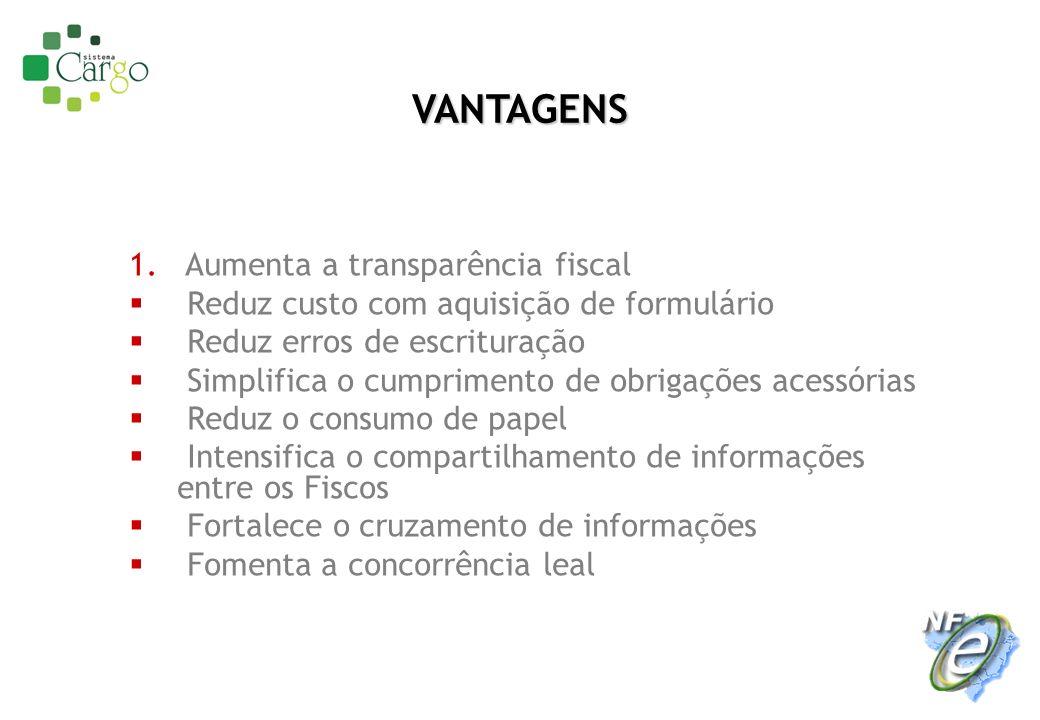 1. Aumenta a transparência fiscal Reduz custo com aquisição de formulário Reduz erros de escrituração Simplifica o cumprimento de obrigações acessória