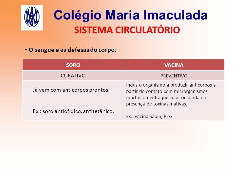 Colégio Maria Imaculada SISTEMA CIRCULATÓRIO O sangue e as defesas do corpo: SOROVACINA CURATIVO PREVENTIVO Já vem com anticorpos prontos. Ex.: soro a