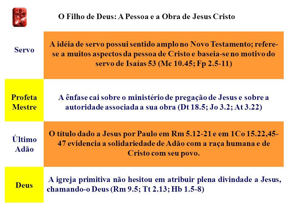 O Filho de Deus: A Pessoa e a Obra de Jesus Cristo Servo A idéia de servo possui sentido amplo no Novo Testamento; refere- se a muitos aspectos da pes