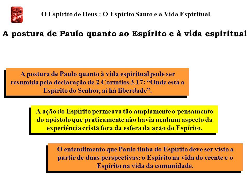 A postura de Paulo quanto à vida espiritual pode ser resumida pela declaração de 2 Coríntios 3.17: Onde está o Espírito do Senhor, aí há liberdade. O