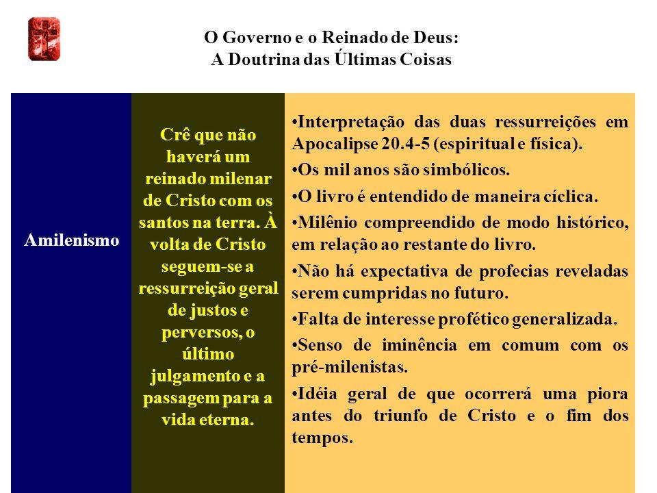 O Governo e o Reinado de Deus: A Doutrina das Últimas Coisas Amilenismo Crê que não haverá um reinado milenar de Cristo com os santos na terra. À volt