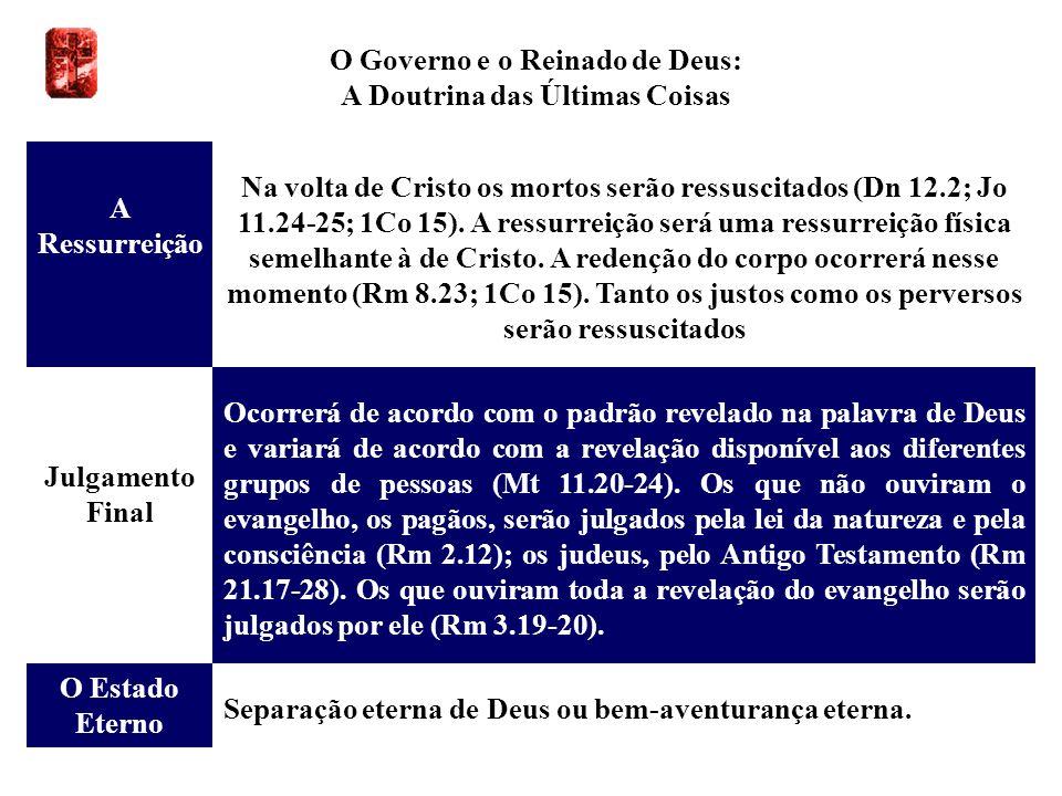 O Governo e o Reinado de Deus: A Doutrina das Últimas Coisas A Ressurreição Na volta de Cristo os mortos serão ressuscitados (Dn 12.2; Jo 11.24-25; 1C