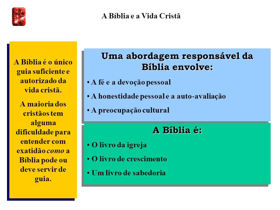 A Bíblia e a Vida Cristã A Bíblia é o único guia suficiente e autorizado da vida cristã. A maioria dos cristãos tem alguma dificuldade para entender c