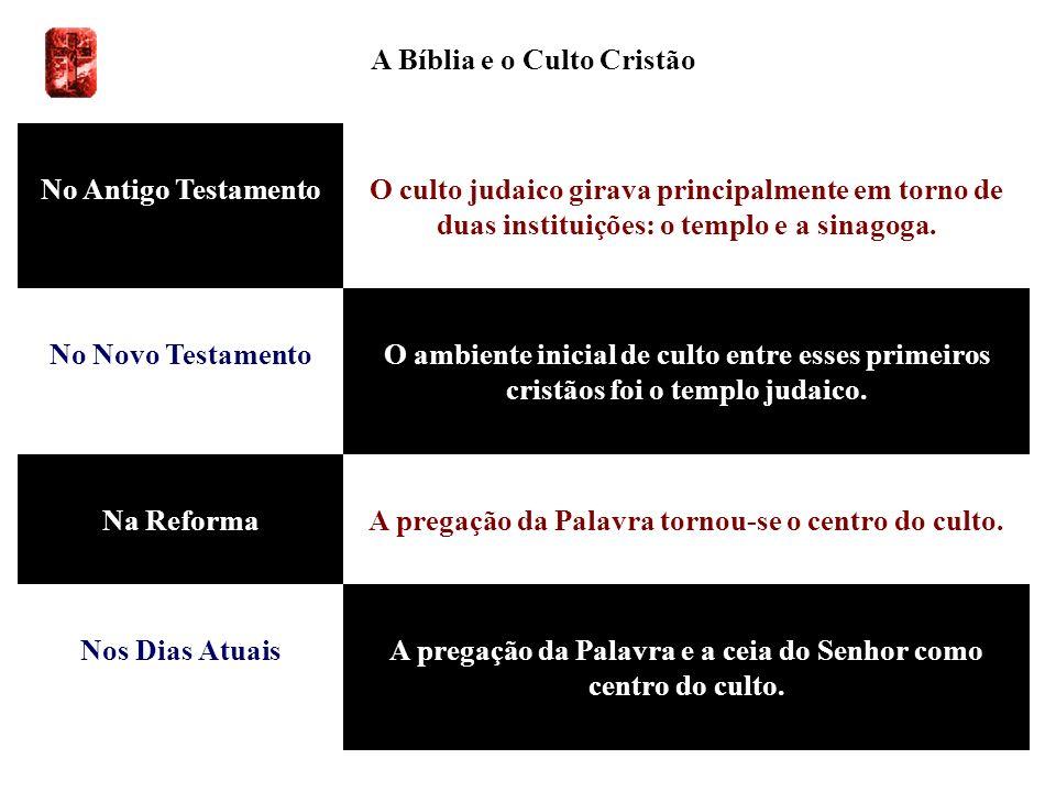 A Bíblia e o Culto Cristão No Antigo TestamentoO culto judaico girava principalmente em torno de duas instituições: o templo e a sinagoga. No Novo Tes