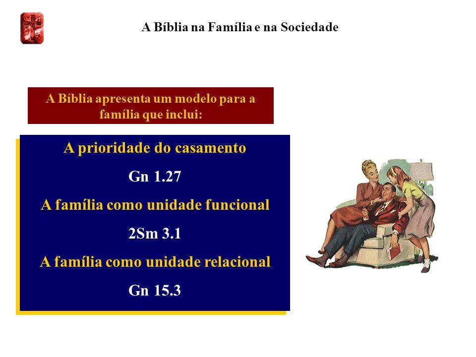 A Bíblia na Família e na Sociedade A prioridade do casamento Gn 1.27 A família como unidade funcional 2Sm 3.1 A família como unidade relacional Gn 15.