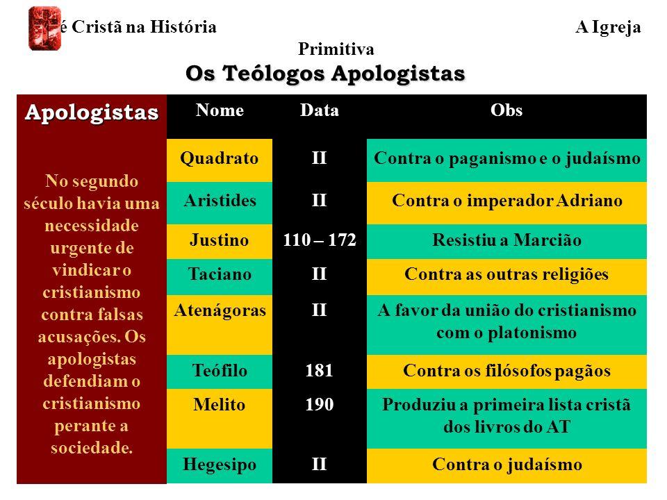 NomeDataObs QuadratoIIContra o paganismo e o judaísmo AristidesIIContra o imperador Adriano Justino110 – 172Resistiu a Marcião TacianoIIContra as outr