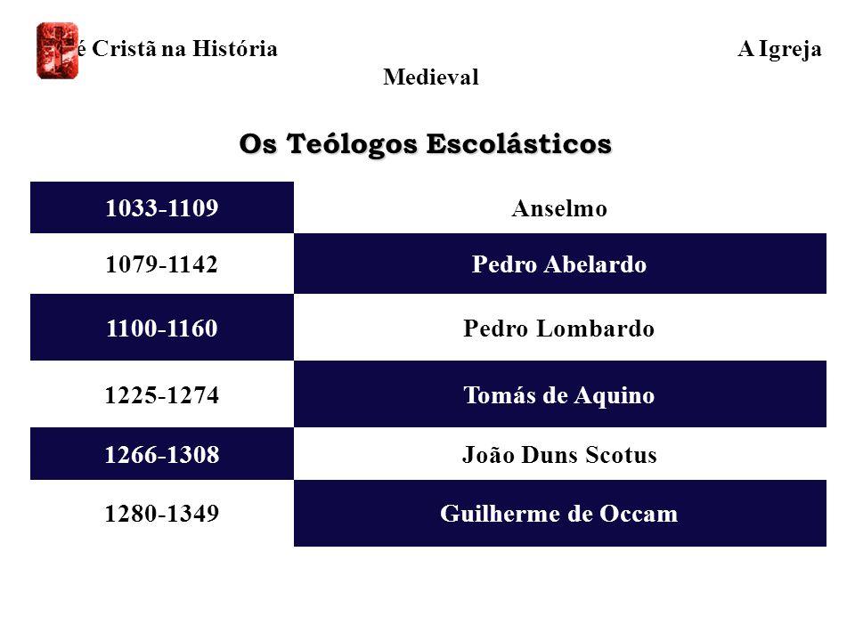 Os Teólogos Escolásticos 1280-1349 1266-1308 1225-1274 1100-1160 1079-1142 1033-1109 Guilherme de Occam Tomás de Aquino João Duns Scotus Pedro Lombard