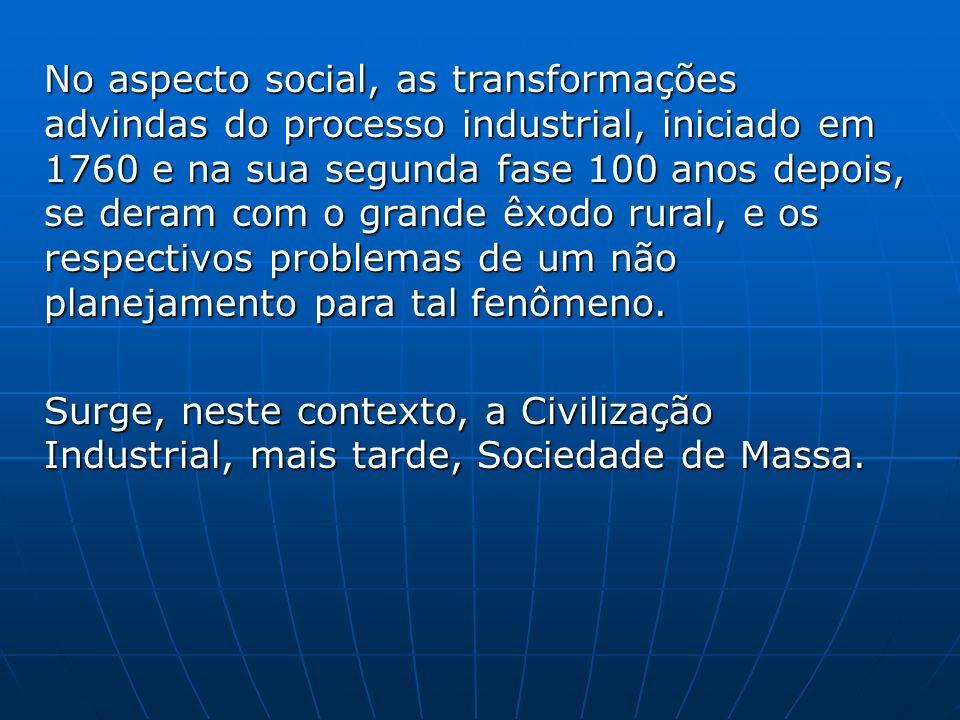 No aspecto social, as transformações advindas do processo industrial, iniciado em 1760 e na sua segunda fase 100 anos depois, se deram com o grande êx