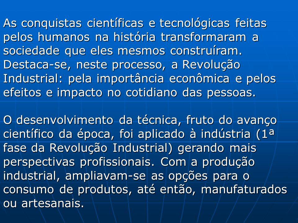 As conquistas científicas e tecnológicas feitas pelos humanos na história transformaram a sociedade que eles mesmos construíram. Destaca-se, neste pro