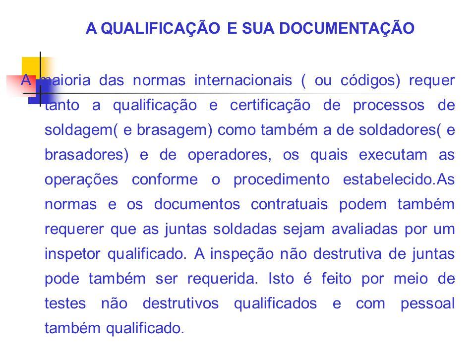 A QUALIFICAÇÃO E SUA DOCUMENTAÇÃO A maioria das normas internacionais ( ou códigos) requer tanto a qualificação e certificação de processos de soldage