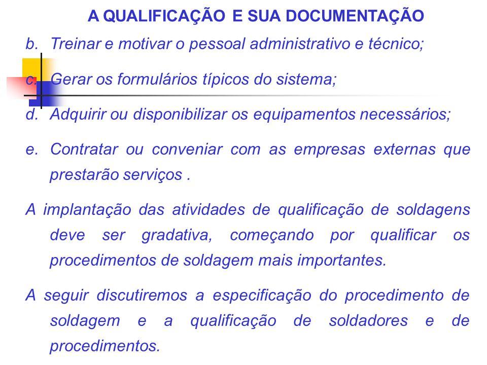 A QUALIFICAÇÃO E SUA DOCUMENTAÇÃO b.Treinar e motivar o pessoal administrativo e técnico; c.Gerar os formulários típicos do sistema; d.Adquirir ou dis