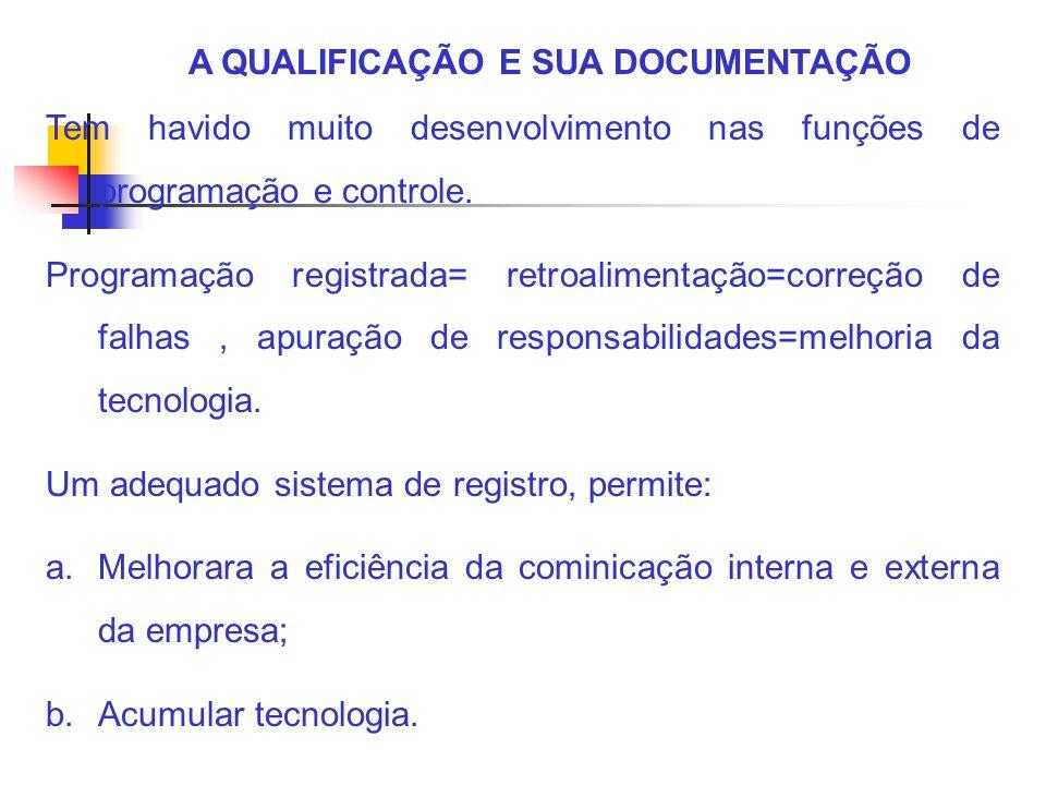 A QUALIFICAÇÃO E SUA DOCUMENTAÇÃO O sistema de registro é a memória tecnológica da empresa.