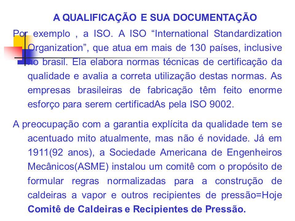 A QUALIFICAÇÃO E SUA DOCUMENTAÇÃO Por exemplo, a ISO. A ISO International Standardization Organization, que atua em mais de 130 países, inclusive no b