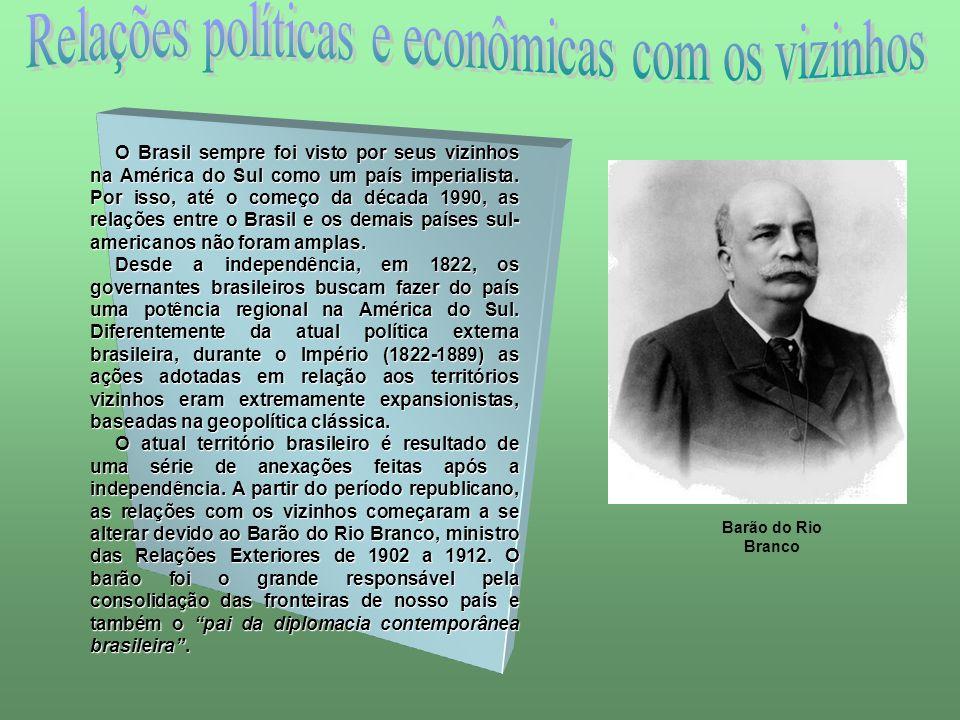 O Brasil sempre foi visto por seus vizinhos na América do Sul como um país imperialista. Por isso, até o começo da década 1990, as relações entre o Br