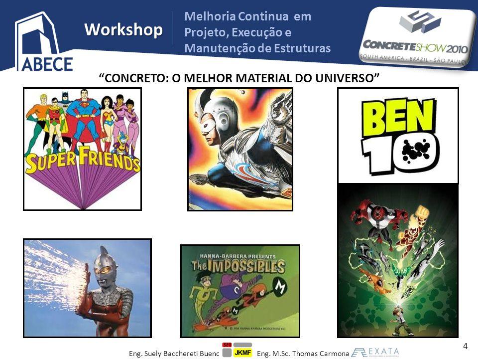 Workshop CONCRETO: O MELHOR MATERIAL DO UNIVERSO CUIDADOS PARA PODER APROVEITAR AO MÁXIMO SUAS CAPACIDADES PROJETO EXECUÇÃO USO E MANUTENÇÃO 5 Melhoria Continua em Projeto, Execução e Manutenção de Estruturas Eng.
