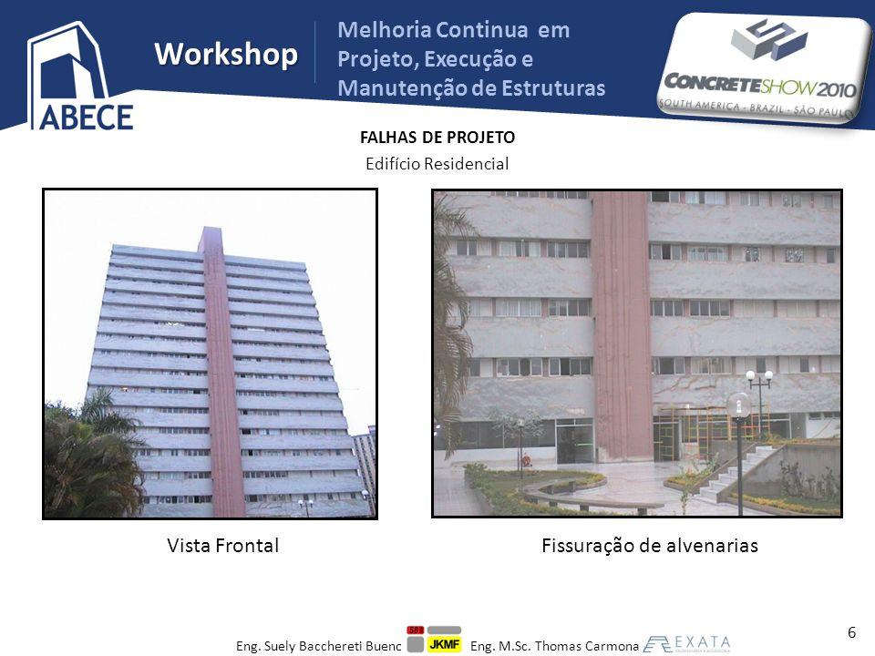 Workshop Melhoria Continua em Projeto, Execução e Manutenção de Estruturas FALHAS DE EXECUÇÃO Edifício em Paredes de Concreto Desaprumos de até 20 cm 17 Eng.