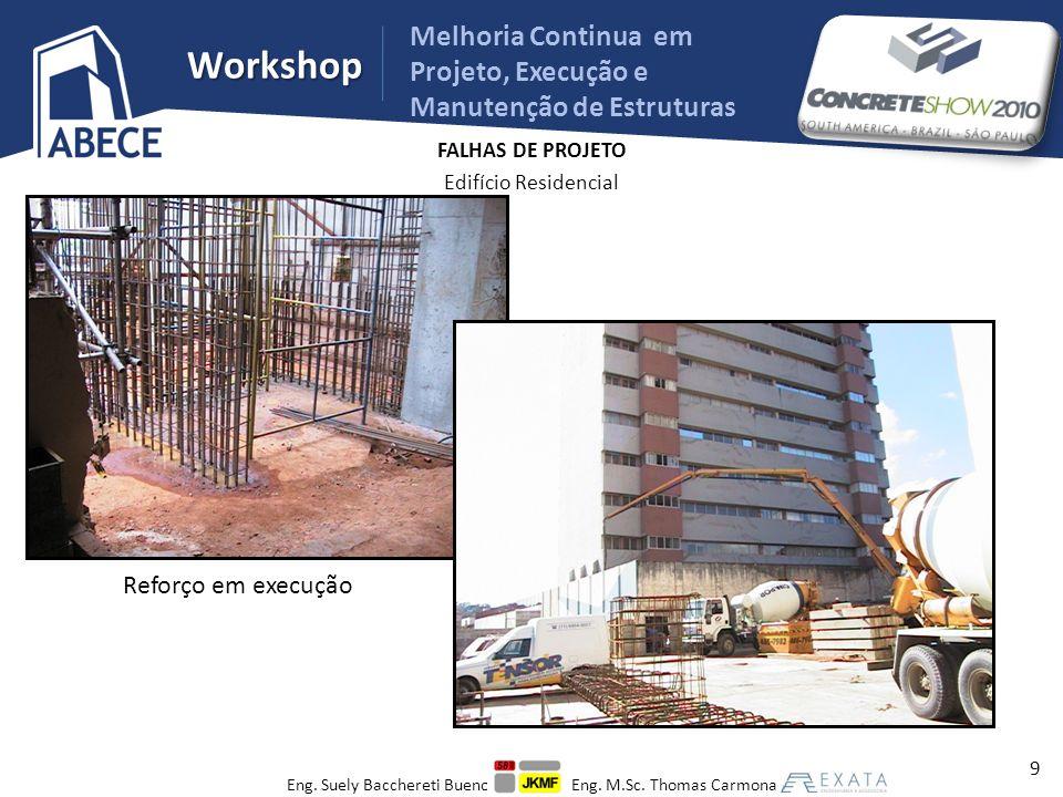 Workshop Melhoria Continua em Projeto, Execução e Manutenção de Estruturas MATERIAIS Edifício Residencial – Concreto não conforme f ck = 30 MPa f ck,est = 18 MPa f c,ex.