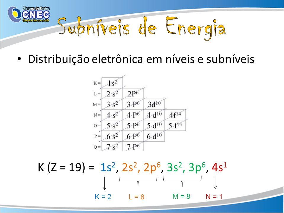 Distribuição eletrônica em níveis e subníveis 1s 2, 2s 2, 2p 6, 3s 2, 3p 6, 4s 1 K = 2 L = 8 M = 8 N = 1 K (Z = 19) =