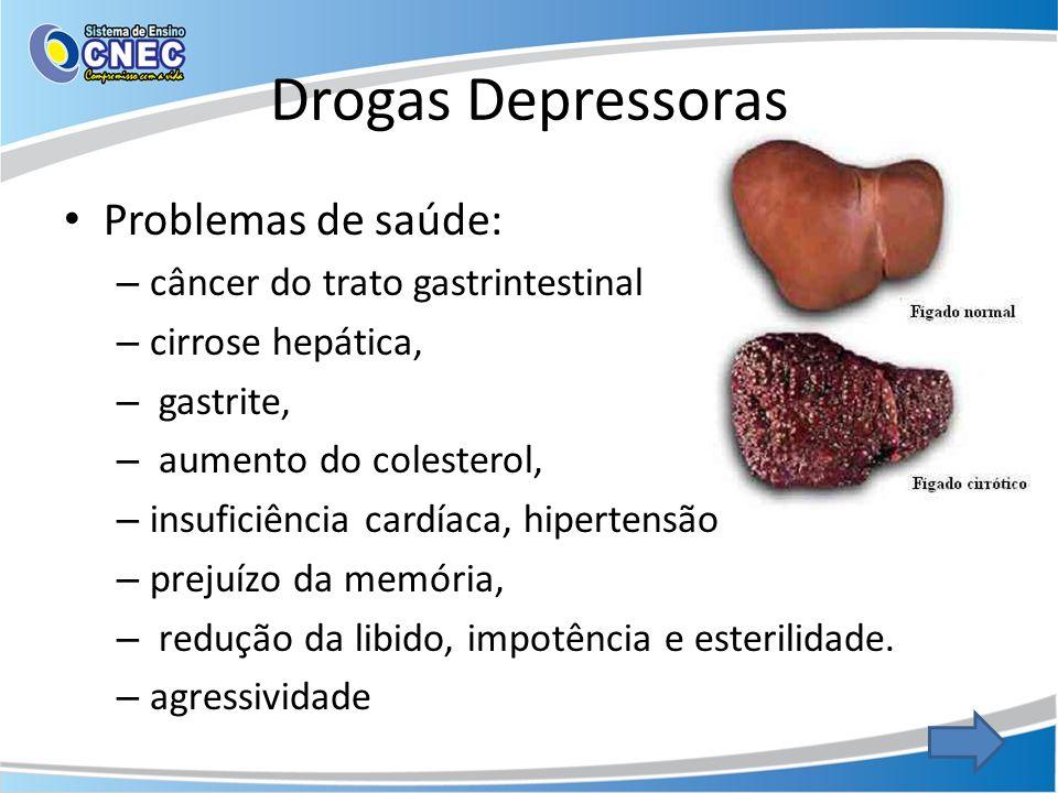 Drogas Depressoras Problemas de saúde: – câncer do trato gastrintestinal – cirrose hepática, – gastrite, – aumento do colesterol, – insuficiência card