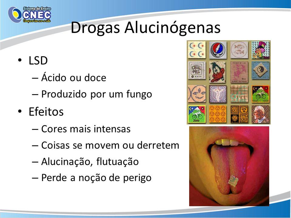 Drogas Alucinógenas LSD – Ácido ou doce – Produzido por um fungo Efeitos – Cores mais intensas – Coisas se movem ou derretem – Alucinação, flutuação –