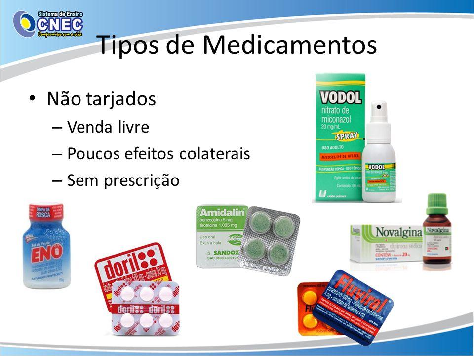 Tipos de Medicamentos Não tarjados – Venda livre – Poucos efeitos colaterais – Sem prescrição