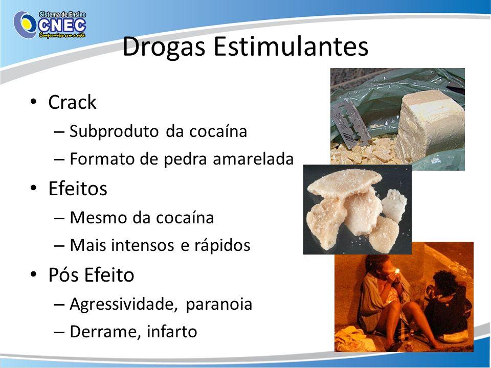 Drogas Estimulantes Crack – Subproduto da cocaína – Formato de pedra amarelada Efeitos – Mesmo da cocaína – Mais intensos e rápidos Pós Efeito – Agres