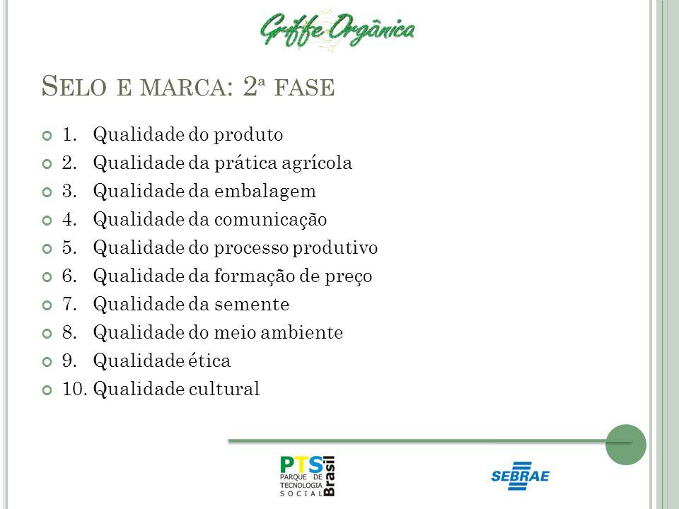 S ELO E MARCA : 2 ª FASE 1. Qualidade do produto 2. Qualidade da prática agrícola 3. Qualidade da embalagem 4. Qualidade da comunicação 5. Qualidade d