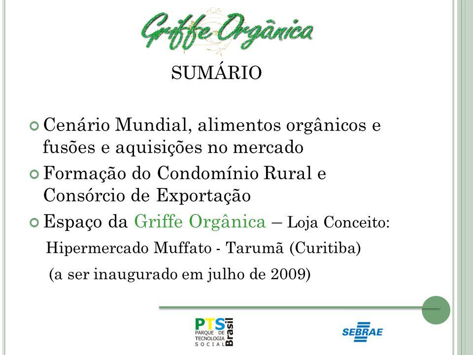 SUMÁRIO Cenário Mundial, alimentos orgânicos e fusões e aquisições no mercado Formação do Condomínio Rural e Consórcio de Exportação Espaço da Griffe