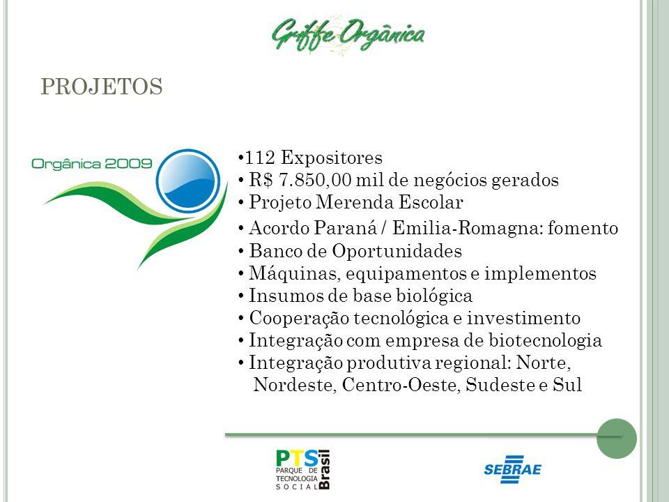PROJETOS 112 Expositores R$ 7.850,00 mil de negócios gerados Projeto Merenda Escolar Acordo Paraná / Emilia-Romagna: fomento Banco de Oportunidades Má