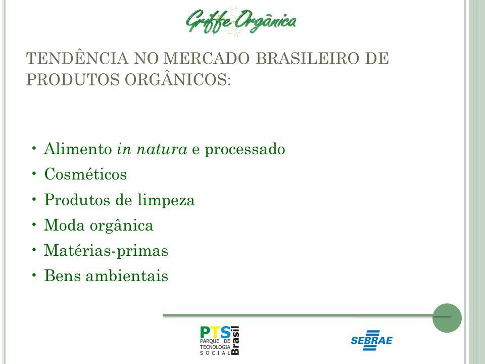 TENDÊNCIA NO MERCADO BRASILEIRO DE PRODUTOS ORGÂNICOS: Alimento in natura e processado Cosméticos Produtos de limpeza Moda orgânica Matérias-primas Be