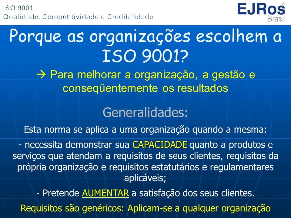 Generalidades: Esta norma se aplica a uma organização quando a mesma: CAPACIDADE - necessita demonstrar sua CAPACIDADE quanto a produtos e serviços qu