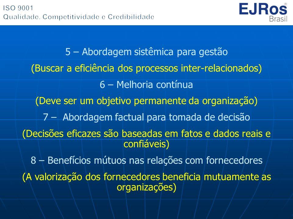 5 – Abordagem sistêmica para gestão (Buscar a eficiência dos processos inter-relacionados) 6 – Melhoria contínua (Deve ser um objetivo permanente da o