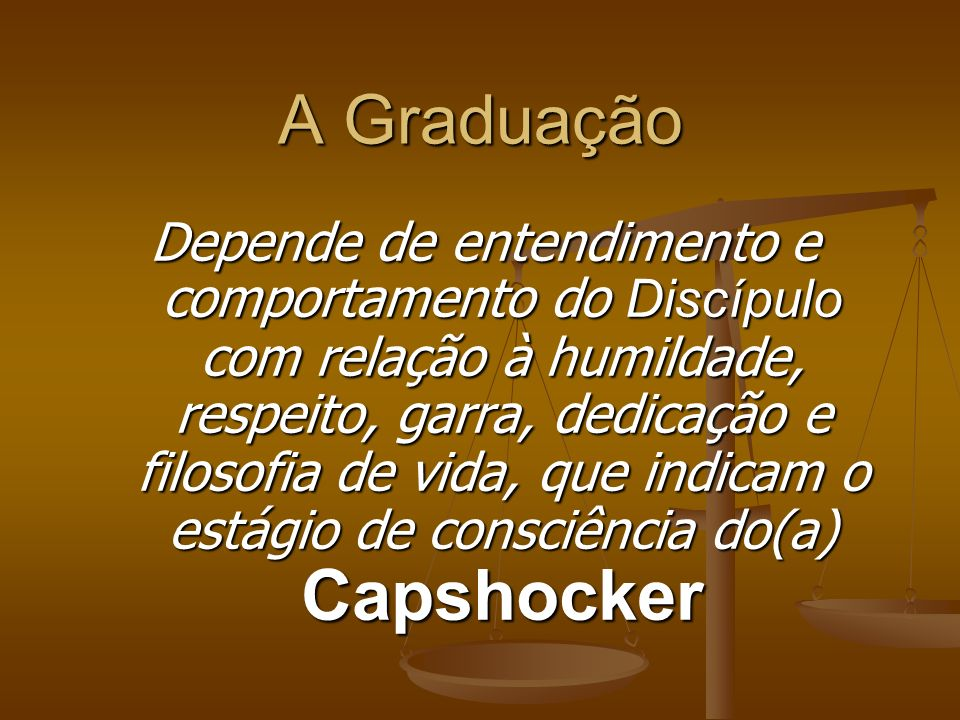 Graduação CapShocker Em Cap Shock não existe tempo para Graduação obtenção de Faixa ou Formatura.