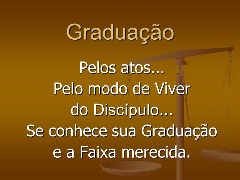 A Graduação Depende de entendimento e comportamento do Discípulo com relação à humildade, respeito, garra, dedicação e filosofia de vida, que indicam
