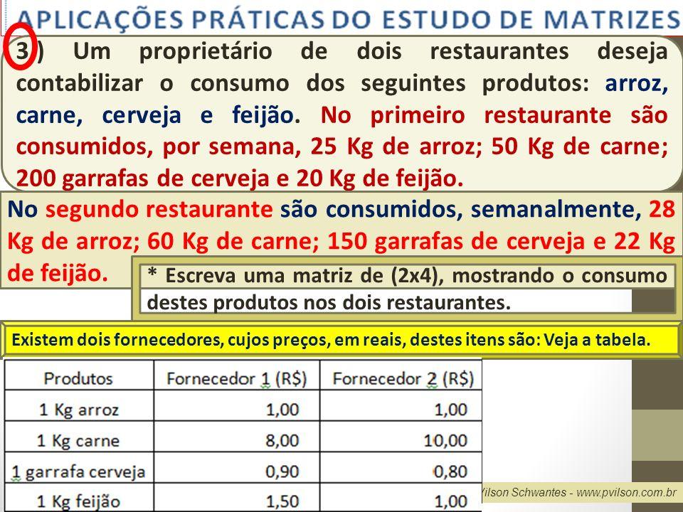 Professor Vilson Schwantes - www.pvilson.com.br 3.) Um proprietário de dois restaurantes deseja contabilizar o consumo dos seguintes produtos: arroz,