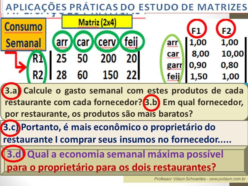 Professor Vilson Schwantes - www.pvilson.com.br 3.a) Calcule o gasto semanal com estes produtos de cada restaurante com cada fornecedor? 3.b) Em qual