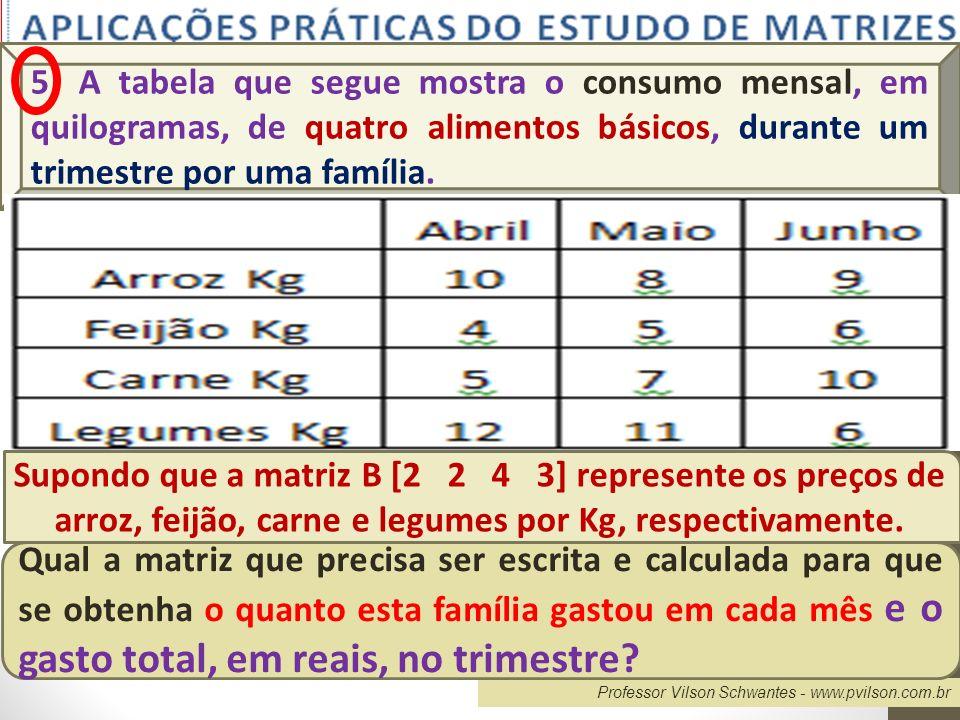 Professor Vilson Schwantes - www.pvilson.com.br 5) A tabela que segue mostra o consumo mensal, em quilogramas, de quatro alimentos básicos, durante um