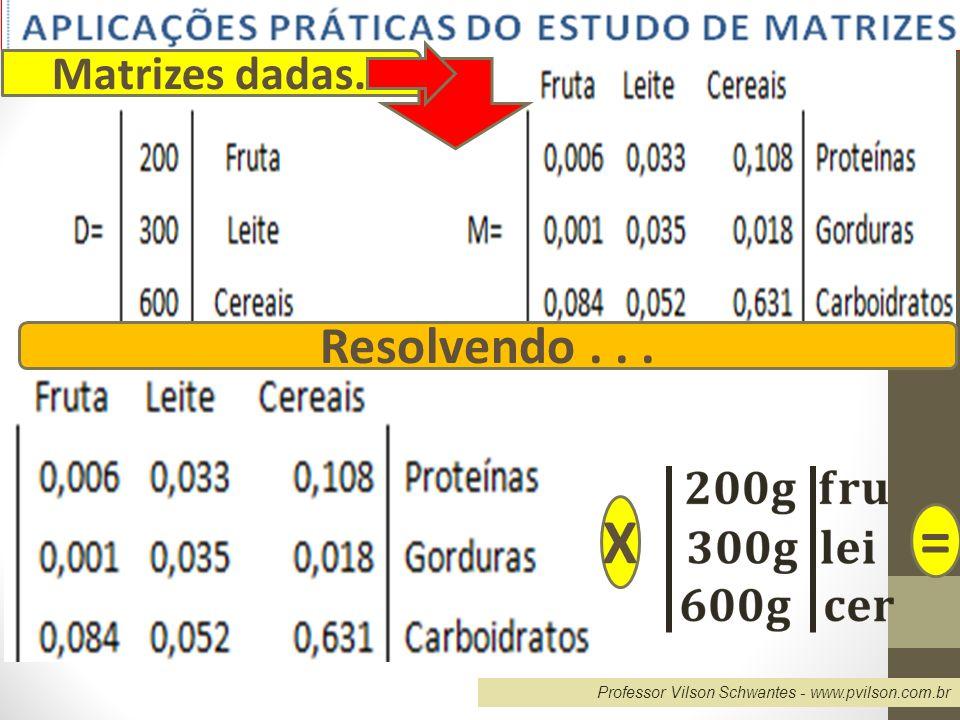 Professor Vilson Schwantes - www.pvilson.com.br Matrizes dadas. Resolvendo... X =