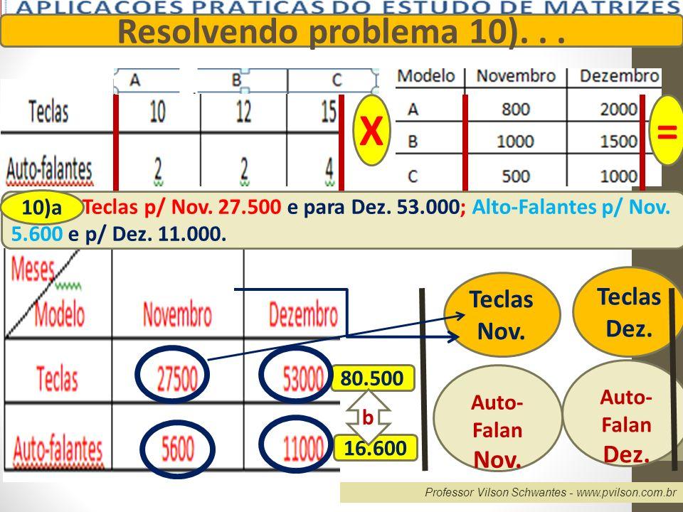 Professor Vilson Schwantes - www.pvilson.com.br Resolvendo problema 10)... X= Teclas p/ Nov. 27.500 e para Dez. 53.000; Alto-Falantes p/ Nov. 5.600 e