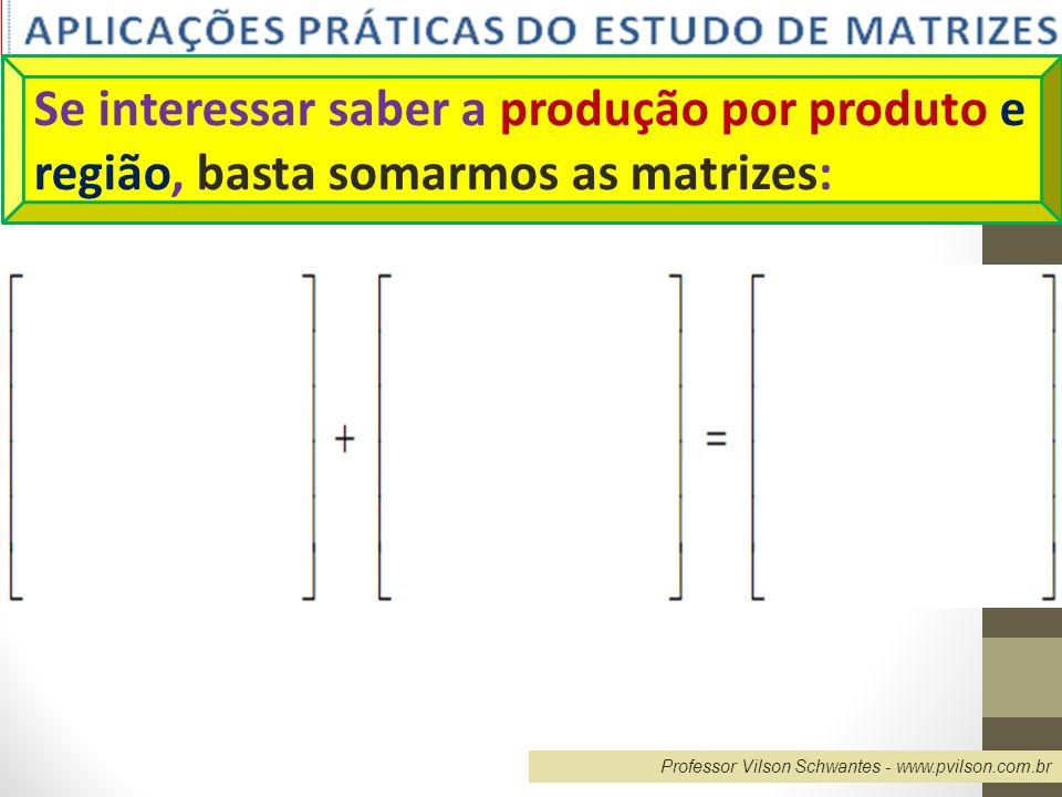 Professor Vilson Schwantes - www.pvilson.com.br Se interessar saber a produção por produto e região, basta somarmos as matrizes: