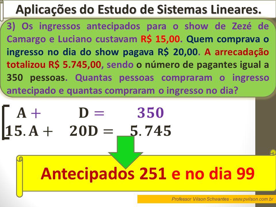 Professor Vilson Schwantes - www.pvilson.com.br Aplicações do Estudo de Sistemas Lineares. 3) Os ingressos antecipados para o show de Zezé de Camargo
