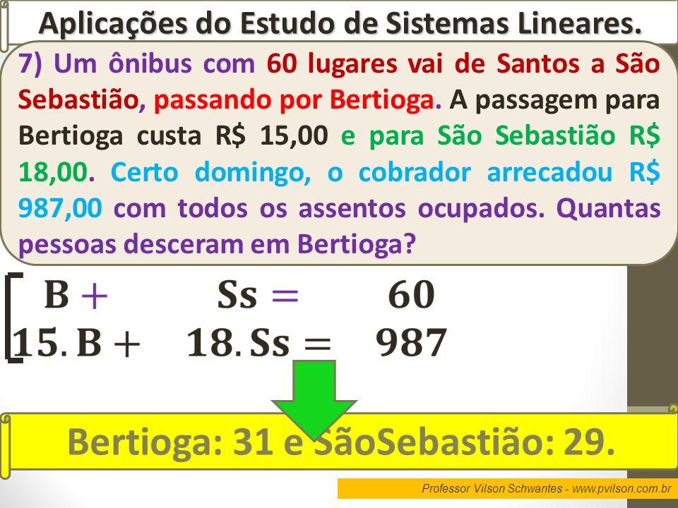 Professor Vilson Schwantes - www.pvilson.com.br Aplicações do Estudo de Sistemas Lineares. 7) Um ônibus com 60 lugares vai de Santos a São Sebastião,