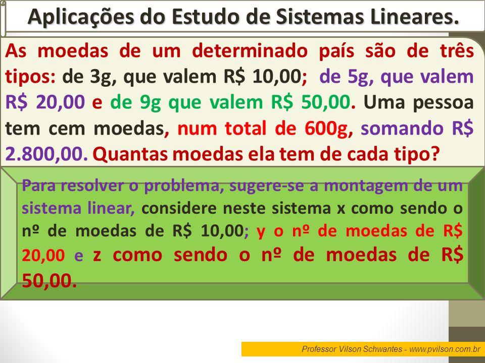 Professor Vilson Schwantes - www.pvilson.com.br Aplicações do Estudo de Sistemas Lineares. As moedas de um determinado país são de três tipos: de 3g,