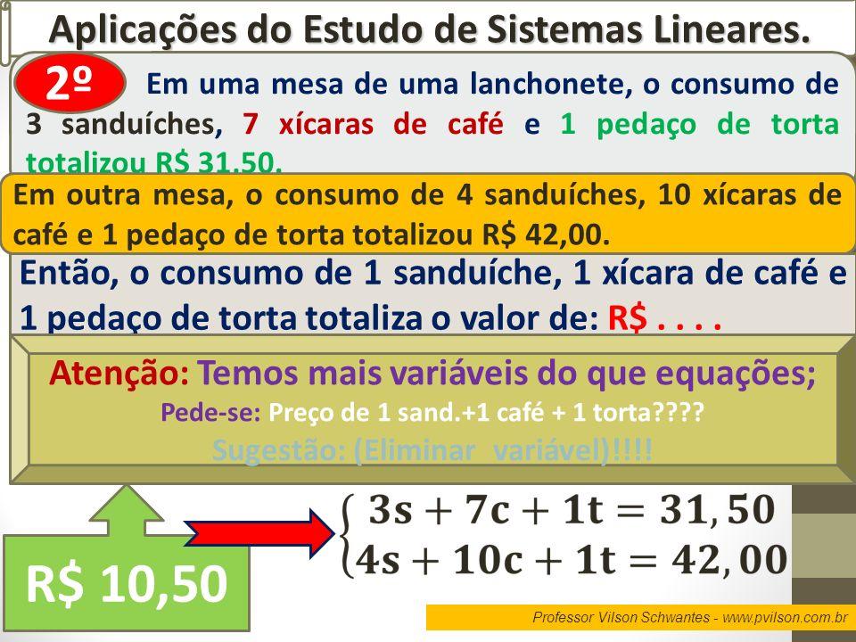 Professor Vilson Schwantes - www.pvilson.com.br Aplicações do Estudo de Sistemas Lineares. Em uma mesa de uma lanchonete, o consumo de 3 sanduíches, 7