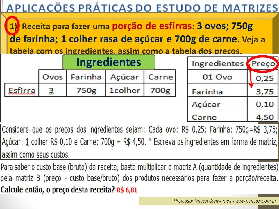 Professor Vilson Schwantes - www.pvilson.com.br I=[3 0,750 1 0,700] ; C= 0,25 3,75 0,10 4,50 Preço= [ 0,75 2,8125 0,10 3,15 ] C= R$ 6,81 2) Numa fábrica de manipulação, para fazer dois tipos de medicamentos (I e II), o farmacêutico precisa das substâncias A, B e C, expressas na tabela 1, em gramas.
